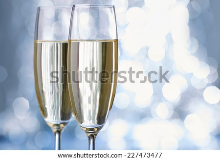 New Year champagne christmas romantic - stock photo