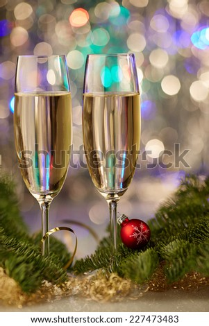 new year champagne christmas romantic new-year tree - stock photo