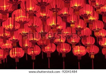 New year Chinese lanterns - stock photo