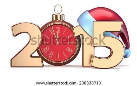 New 2015 Year Christmas ball alarm clock decoration Santa hat Merry Xmas wintertime stylized calendar date. 3d render isolated on white background - stock photo