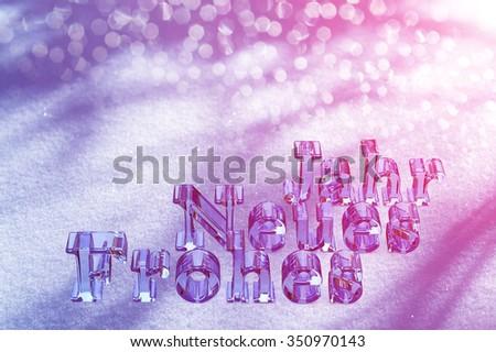 New Year Christmas Text On German Language On Snow - stock photo