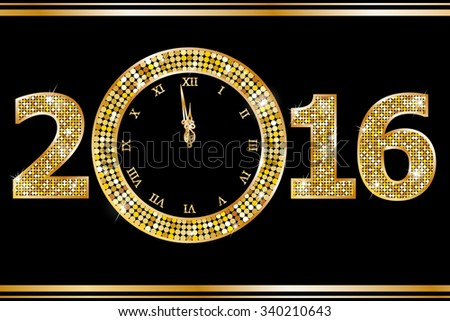 New Year Clock. Raster version  - stock photo