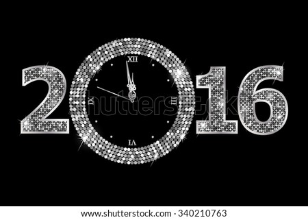 New Year Clock. Raster version  - stock photo