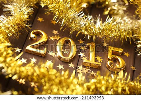 New year 2015,Closeup. - stock photo