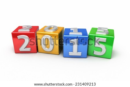 New Year 2015 colorful cube (isolated on white and clipping path) - stock photo