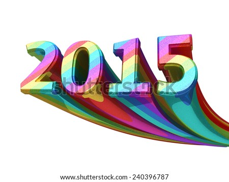 New Year 2015 colorful metal render (isolated on white and clipping path) - stock photo
