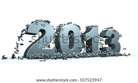 New year 2013 concept in 3d - stock photo