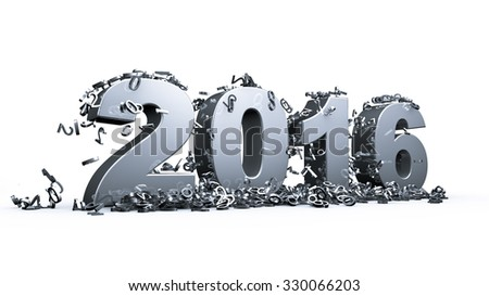 New year 2016 concept in 3d - stock photo