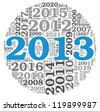 New year 2013 concept in number tag cloud on white background - stock photo