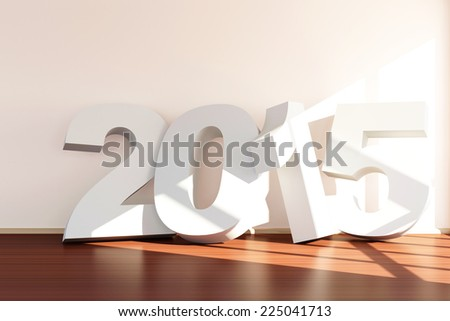 New Year 2015 Concept. Modern Empty Room 3D Interior with 2015 near the wall - stock photo