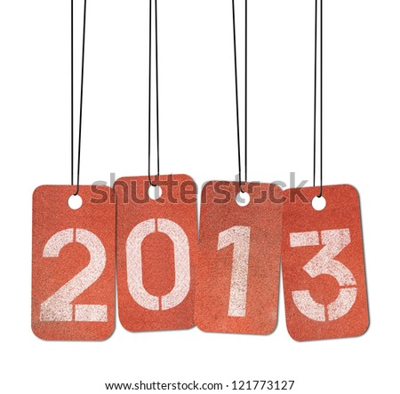 New Year 2013. Concept on track number. - stock photo