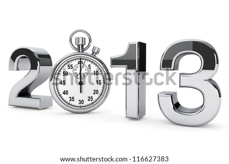 New year 2013 concept. 2013 steel sign with stopwatch on a white background - stock photo