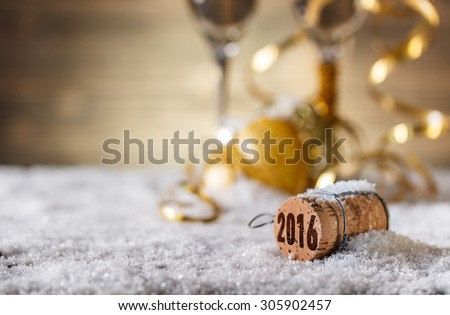 New Year concept with champagne cork  - stock photo