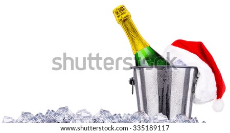 New Year concept with champagne isolated on the white background - stock photo