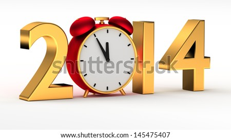 New year 2014 concept with red clock - stock photo