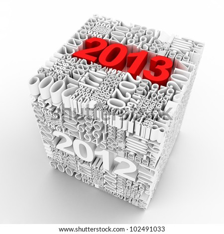 New year 2013. Cube of many year numbers - stock photo