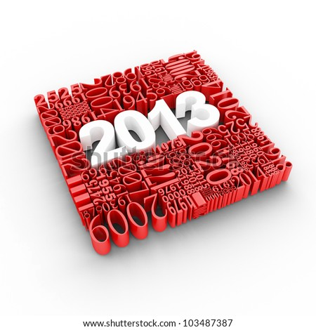 New year 2013. Cube of many year numbers. - stock photo