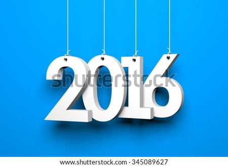 New year - 2016 - 3D digits - stock photo