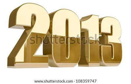 New 2013 year 3D golden figures. - stock photo