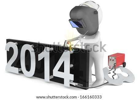 New Year 2014. 3d Little human character the welder. Welding number 4.  - stock photo