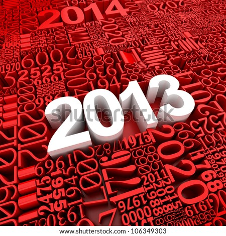 New year 2013. 3d of many year numbers - stock photo
