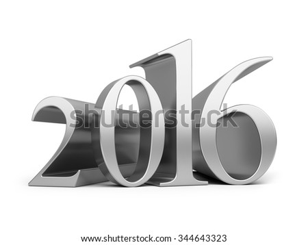 New year 2016. 3d render and computer generated image isolated on a white background - stock photo