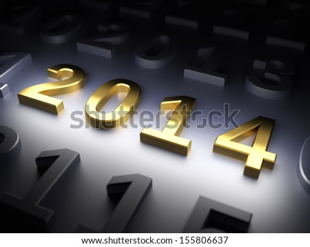 New Year 2014. 3d render illustration - stock photo