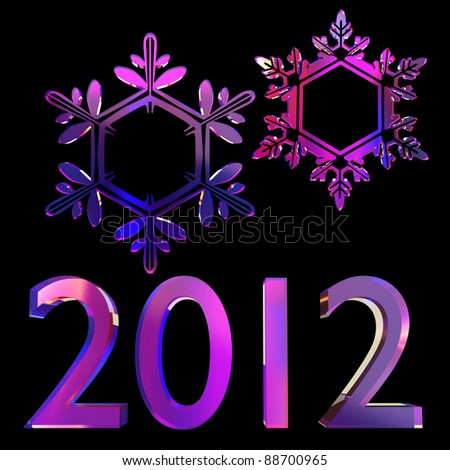 new year 3d set on tthe black background - stock photo