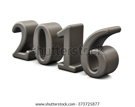 New Year 2016 3d Text Isolated on white - stock photo