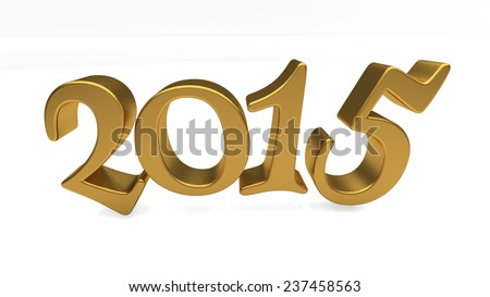 New 2015 Year 3d text on white background - stock photo
