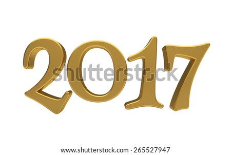 New 2017 Year 3d text on white background - stock photo