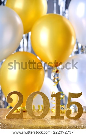 New Year 2015 decoration with balloon - stock photo