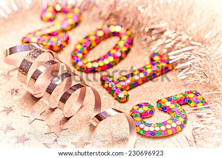 New Year 2015 decorations, colorful digits, silver tinsel, serpentine, stars  - stock photo