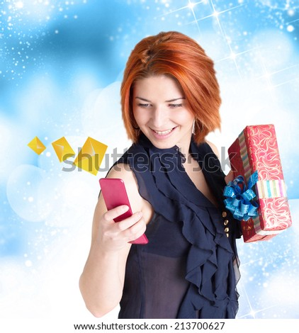 New Year E-mail message from Happy Woman - stock photo