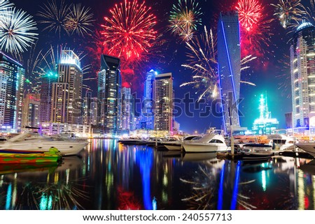 New Year fireworks display in Dubai, UAE - stock photo