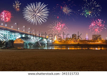 New Year fireworks display in Warsaw, Poland - stock photo