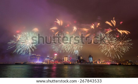 New Year Fireworks in Hong Kong - stock photo
