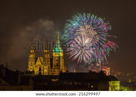 New Year fireworks in Prague - stock photo
