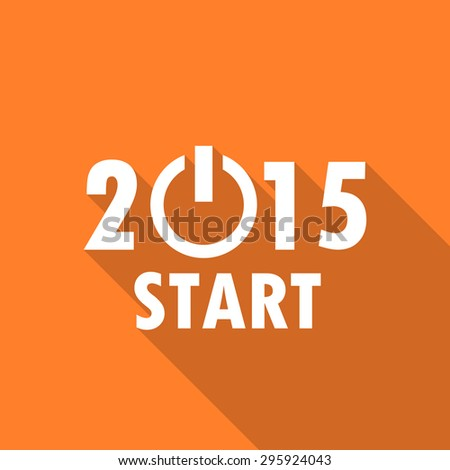 new year 2015 flat design modern icon with long shadow for web and mobile app   - stock photo