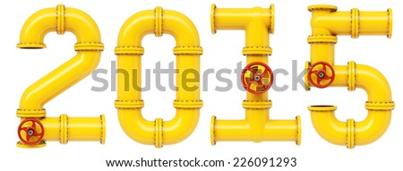 new 2015 year from gas pipes. Isolated on white background. - stock photo