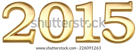 new 2015 year from gold. isolated on white. - stock photo