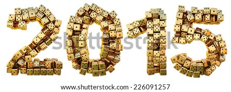 new 2015 year from the golden dice. isolated on white. - stock photo