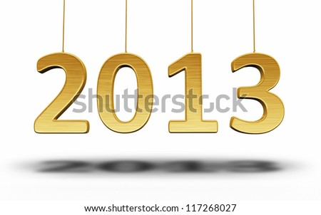New Year 2013 Gold render (isolated on white and clipping path) - stock photo