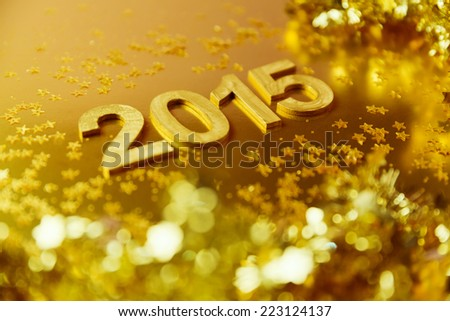 New Year 2015  golden background. Shallow depth of field - stock photo