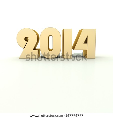 new year 2014 golden numbers on black background - stock photo