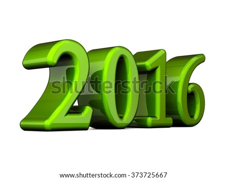 New Year Green 2016 3d Text Isolated on white - stock photo