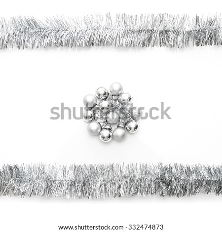 New year greeting card made of silver tinsel frame and silver christmas balls - stock photo