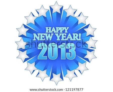 new year 2013 illustration design over white - stock photo