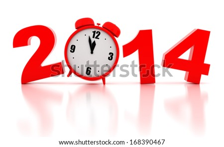 New year 2014 Illustrations 3d render on a white background - stock photo