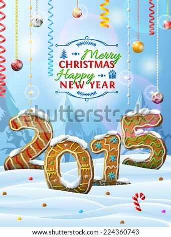 New Year 2015 in shape of gingerbreads in snow. Winter landscape with cookies, decoration, congratulation. Illustration for new year's day, christmas, cooking, winter holiday, food, silvester, etc - stock photo